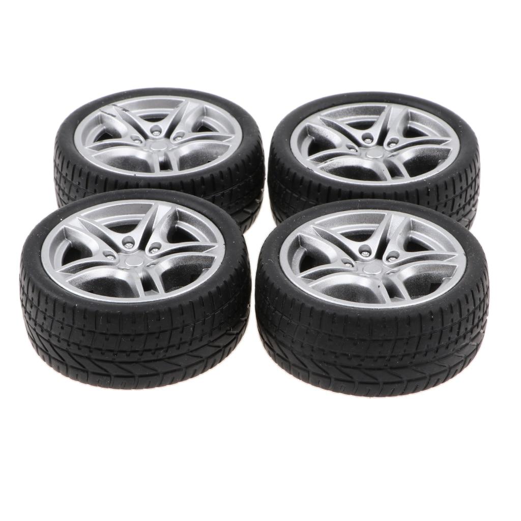 1:10 Scale 4pcs Rubber 5 Spoke Wheel Rim & Tyres For RC Racing Car Parts