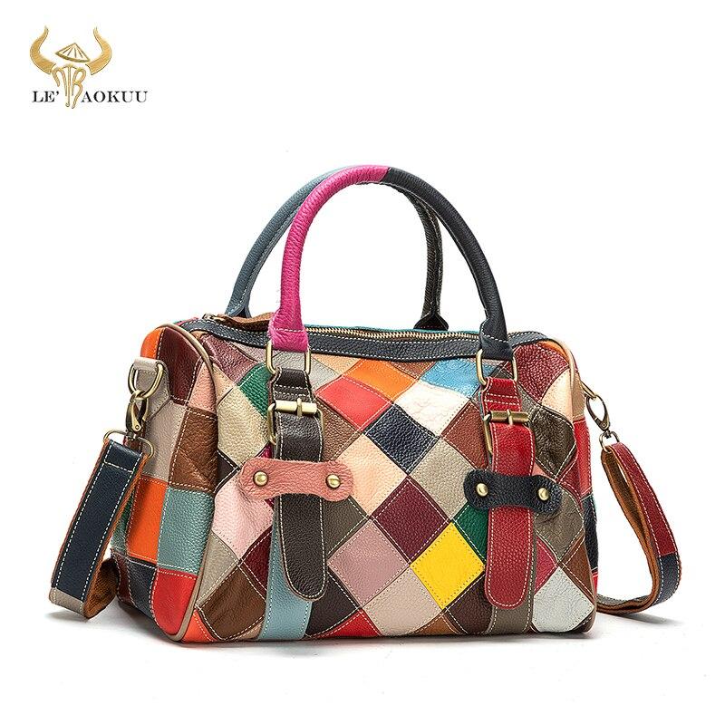 Soft Leather Women Patchwork Female Luxury Brand Purse Handbag Fashion Colorful Over Shoulder Bag La