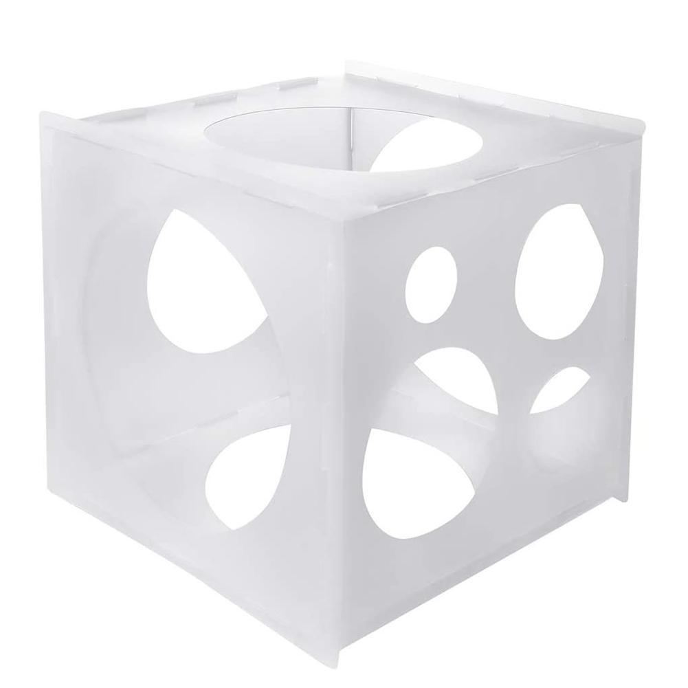 Caja de 11 agujeros para globos, herramienta de medición de globos cuadrados PP para arcos de globos para fiestas de cumpleaños, decoraciones para fiestas de bodas