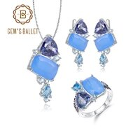 gems ballet natural aqua blue calcedony candy fine jewelry 925 sterling silver ring earrings pendant jewelry sets for women