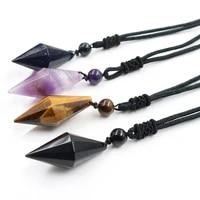 natural obsidian crystal quartz stone pendant necklace for women men divination amulet pendulum healing energy jewelry