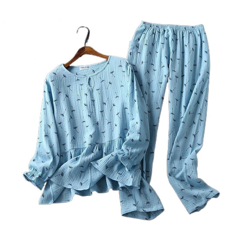 Pantalones de algodón de manga larga para Mujer, pijamas ropa para el...