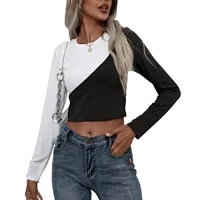 women cutout crop tops adults slim fit color block long sleeve round neck pullover