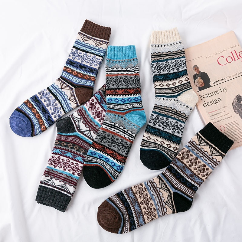 5Pairs/Lot Mens Soft Socks Triangle Texture Casual Autumn Winter Thick Wool Retro Colorful Cozy Warm Terry Socks