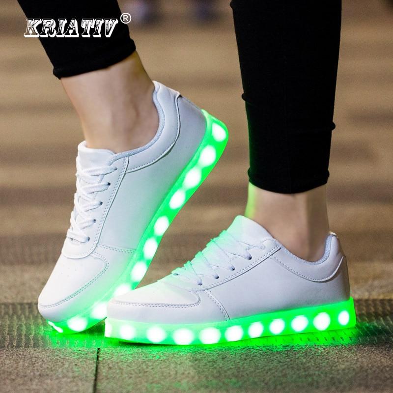 KRIATIV مضيئة أحذية رياضية شاحن يو اس بي متوهجة أحذية رياضية مضاءة أحذية غير رسمية Led للأطفال أطفال الأحذية LED النعال