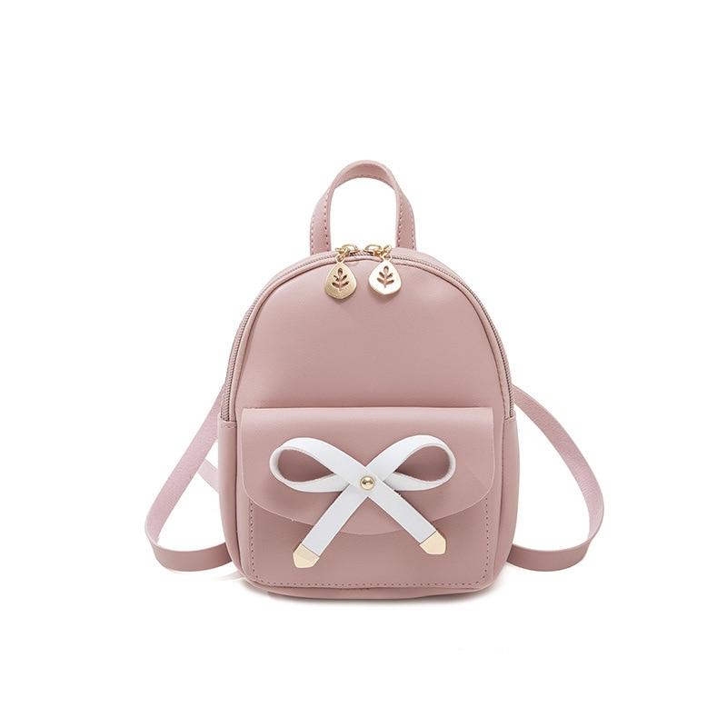 Small PU Leather Designer Women Backpack Female Fashion 2021 Luxury Ladies Bowknot Bagpack Girls Travel Branded Shoulder Bag 123