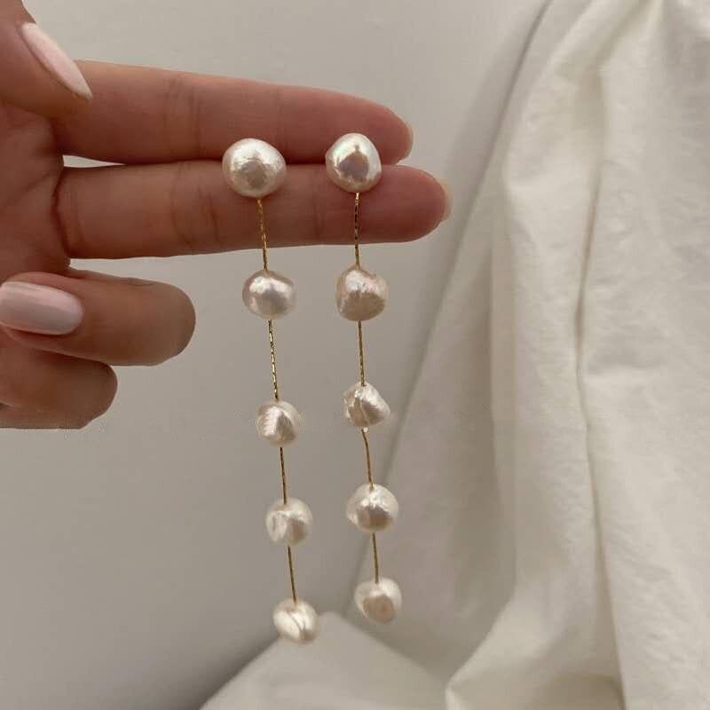 2020 coreano Japón colgante de perlas de agua dulce naturales borla de larga sección gota de agua colgante pendientes colgantes de perlas para las mujeres joyería