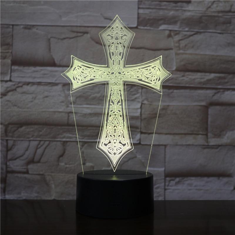 HYVCity 3D Lamp Night Light Jesus Blessed Virgin Mary Christian Bible Crucifix 3D Led Lighting Bedside Lamp Lighting Pray Lights