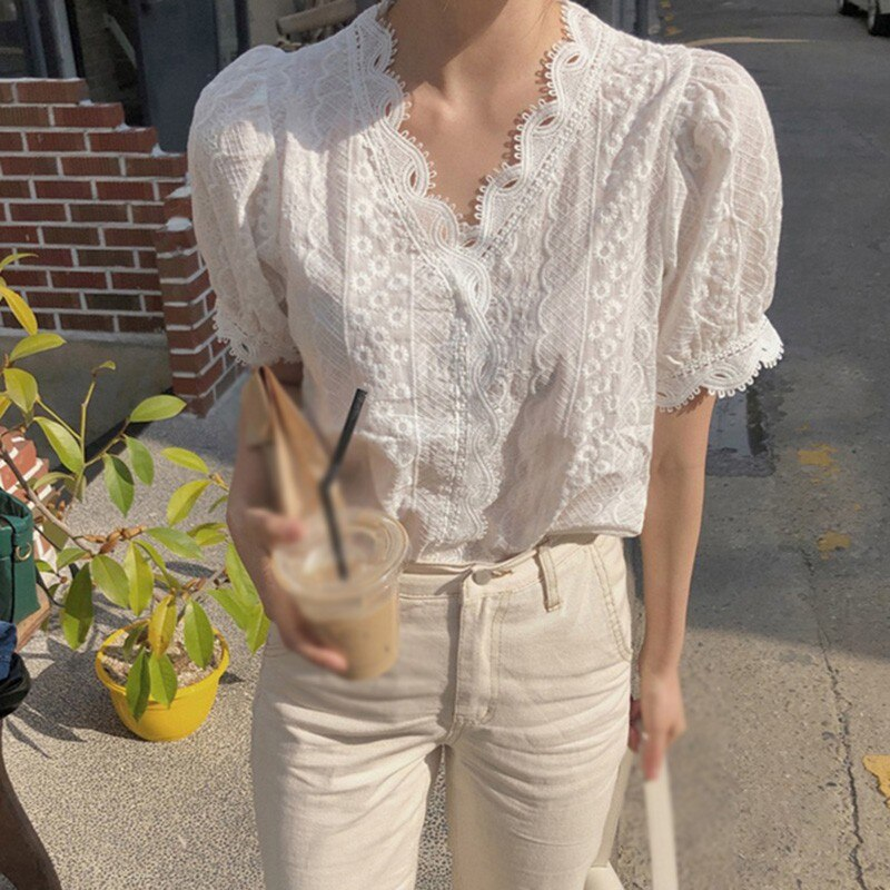 Office Ladies Shirts Fashion Wild Hollow Out Lace Shirt Simple Casual V-Neck Short Sleeve Women Blouse White M