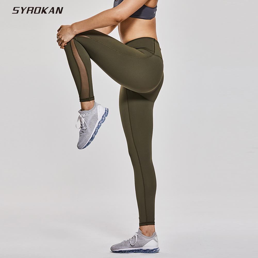 """Leggings de entrenamiento para mujer SYROKAN, sensación desnuda, tiro alto, malla 7/8, con bolsillo de cremallera-25"""""""