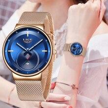 2020 LIGE relojes para mujer, reloj azul de moda para mujer, reloj de malla impermeable, reloj delgado de cuarzo para mujer, reloj femenino Zegarek Damski