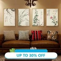 Meilan     peinture sur toile de bambou et de lettres de Style chinois  affiche murale imprimee  images dart pour salon  decoration de maison