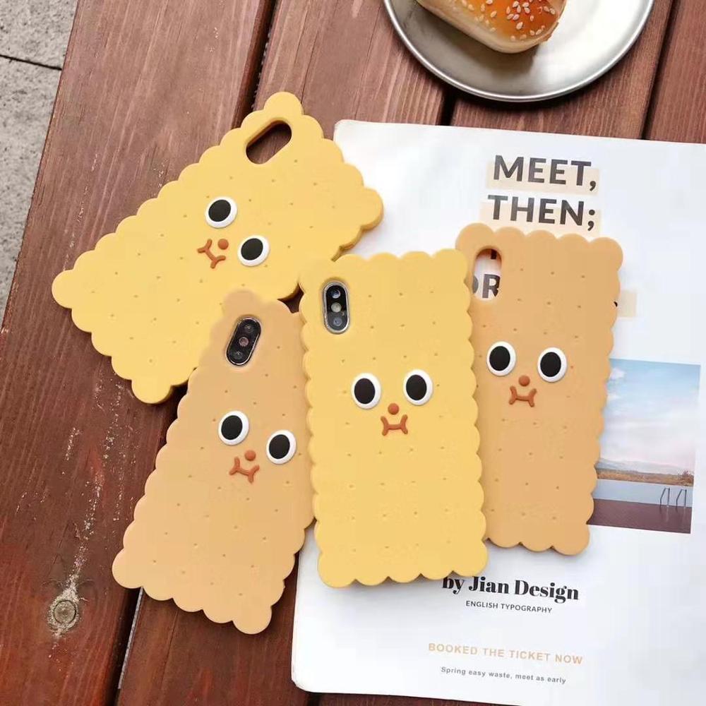 Divertido 3D Cookies funda para teléfono para iphone 11 pro Max XR XS MAX X de silicona suave ojos grandes capa cubierta para iphone 7 7 6s 6 plus coque