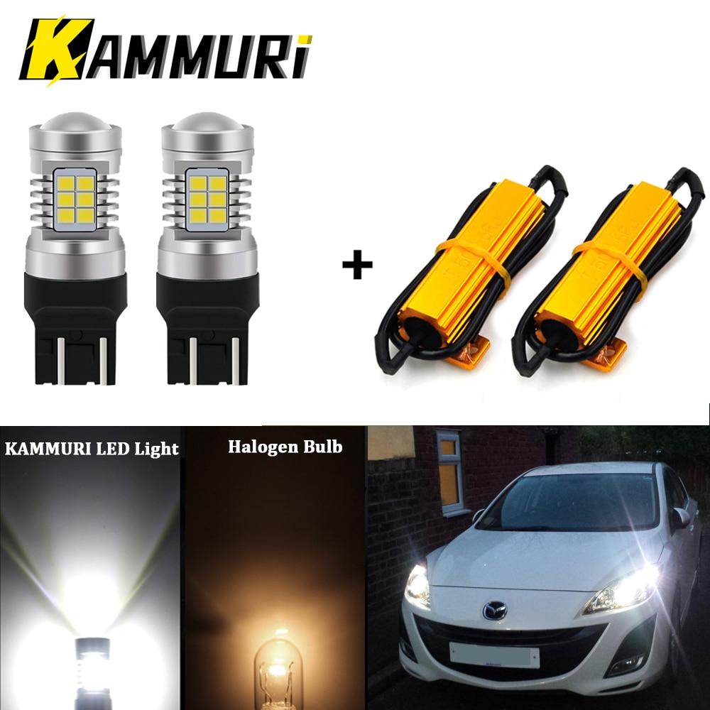 KAMMURI (2) لا خطأ الأبيض T20 W21/5 واط 7443 LED لمبات لشركة فيات 500 2009 - 2016 LED DRL أضواء النهار تشغيل أضواء 1200LM