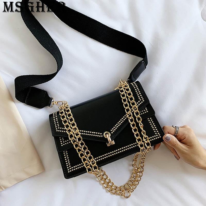 MSGHER Thread Panelled Flap Female Shoulder Bag Metal Chains Hasp Rivet Autumn Joker New Style Texture Lady Bag WB3023