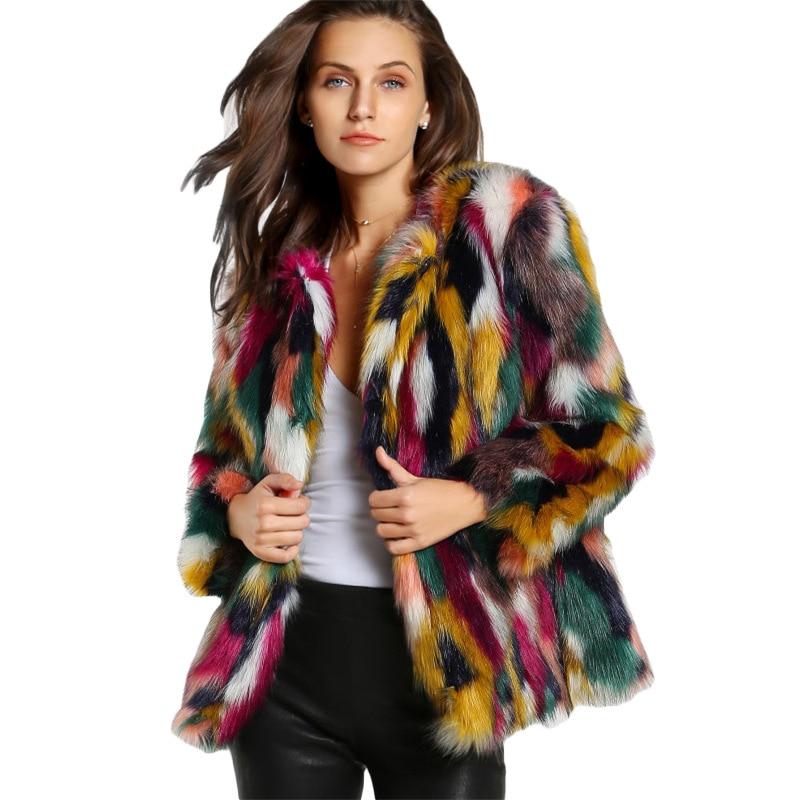 Winter color fur coats Women Elegant Fur Coats Colorful Faux Fur Coat Brand fashion Long Sleeve Collarless Casual Women Fur coat