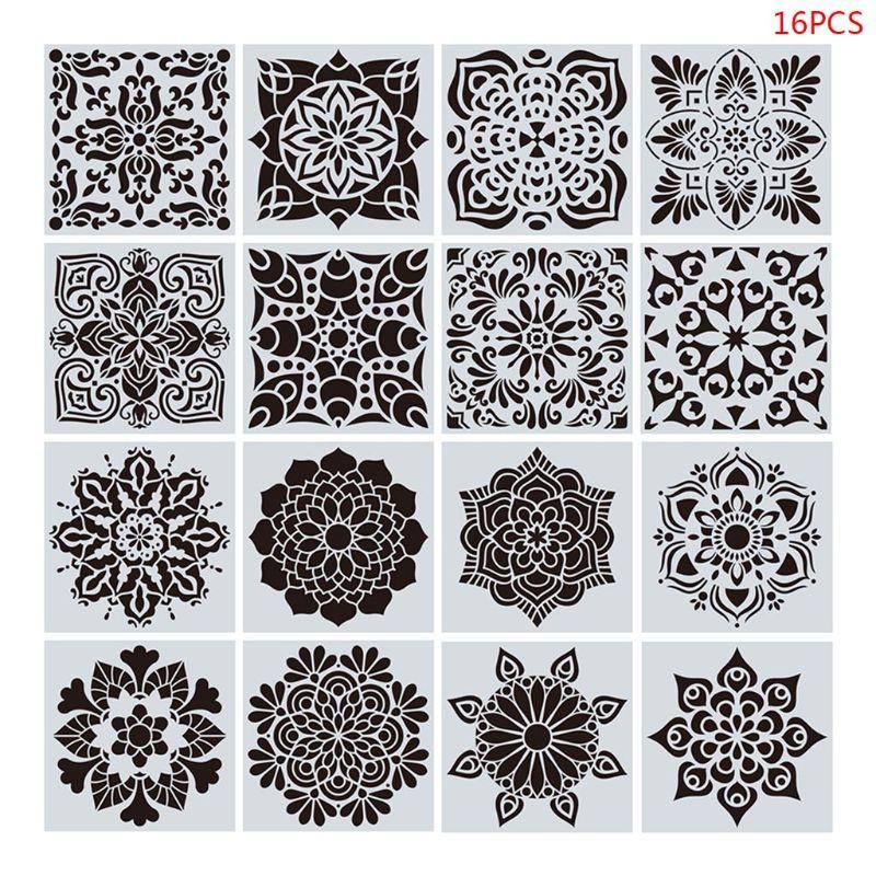 16 unids/set Mandala plantillas Plantilla de dibujo de bricolaje pintura Scrapbooking estampado de tarjeta de papel álbum decorativo artesanías nuevo