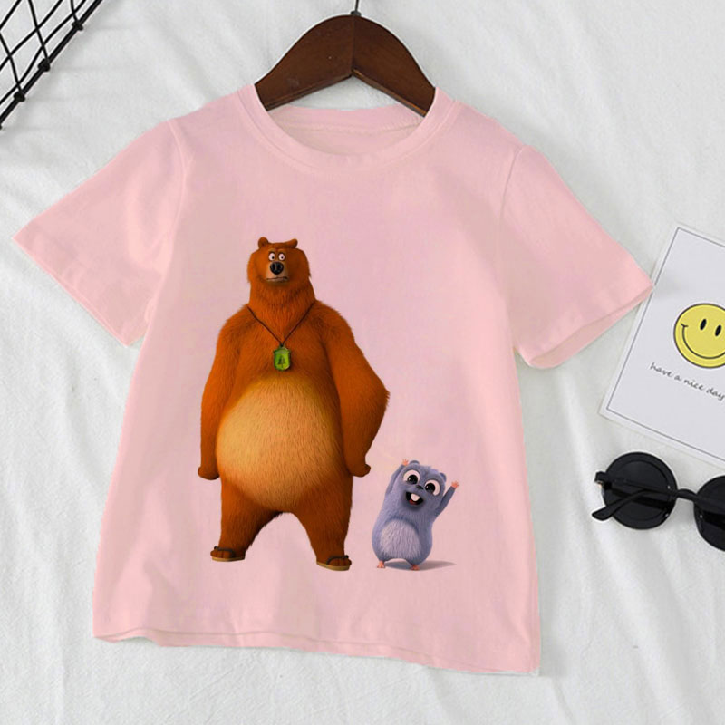 boys animal print t shirt Kawaii Sunlight Grizzly Bear Animal Print Kids Clothes Novelty T-shirt For Girls /boys T Shirt Boys T Shirt children clothing