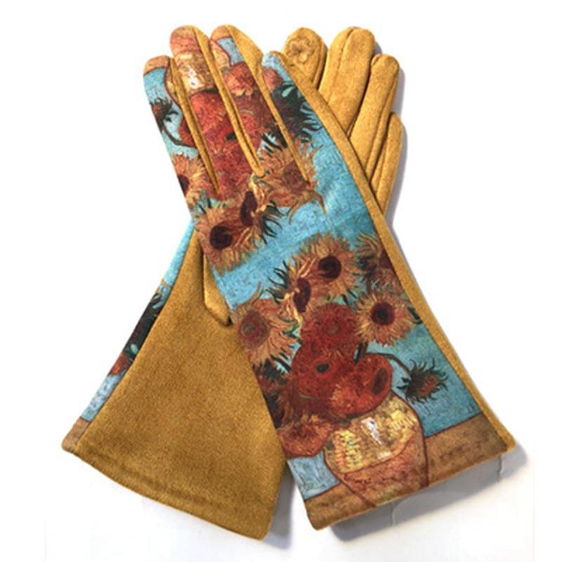 Elegant Women Touch Screen Gloves Oil Painting Sunflower Pattern Warm Winter Suede Thicken Full Finger Driving Gloves K23