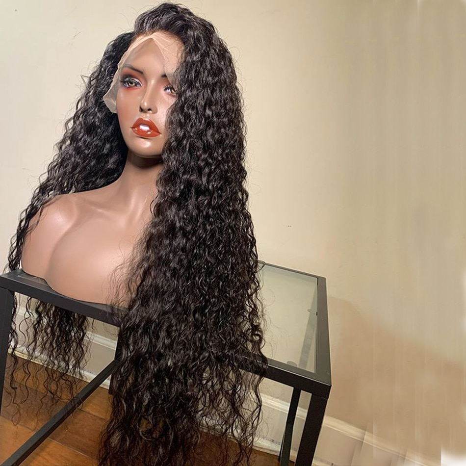 Long Curly Black Synthetic Lace Front Wigs For WOmen and Girl 13x4 Hair Wig