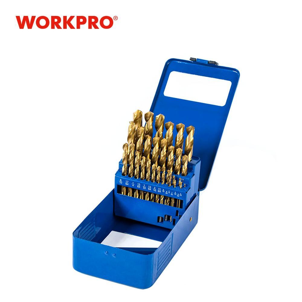 WORKPRO 29-Piece Titanium Drill Bit Set in Metal Case