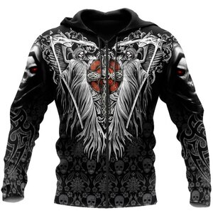 Skull Cross Devil Tatoo 3D All Print Plus Hoodie Man Women Harajuku Outwear Zipper Pullover Sweatshirt Casual Unisex Jacket
