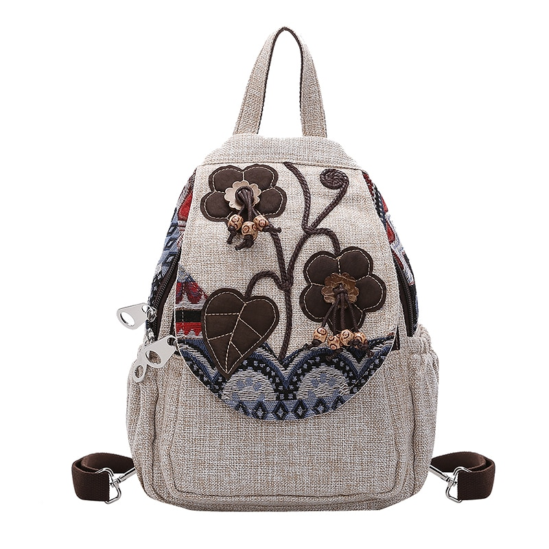 Chinese Style Linen Women Backpack Casual  Floral Printing Vintage Art Shoulders Bag Retro Female Canvas
