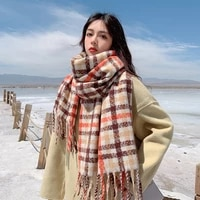 women fashion scarf female cute fashion japanese scarf in autumn and winter korean shawl thickened to keep warm in winter 2021