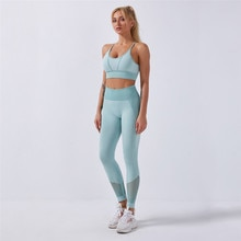 Seamless Sport Set Women Two Piece Crop Top Leggings Workout Clothes Outfit Hollow Fitness Gym Suit