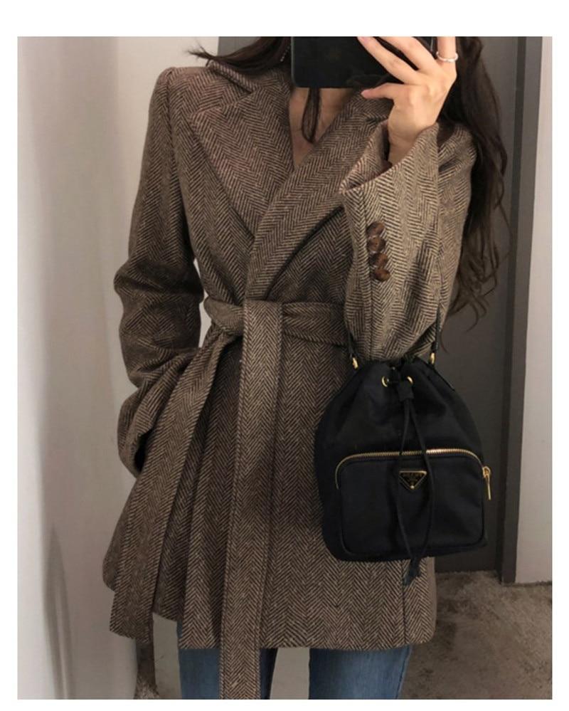 ¡Novedad de 2020! Chaqueta de lana Vintage para mujer, ropa de Otoño Invierno para mujer, nuevo abrigo de lana gruesa informal Retro, blazer Suit V1153