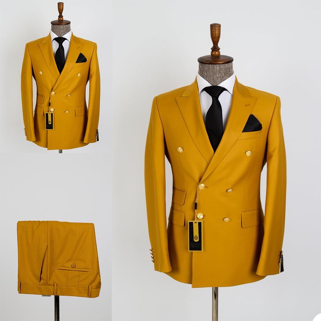 الكلاسيكية خمر الرجال البدلات مزدوجة الصدر بلغت ذروتها التلبيب جيب مخصص الدعاوى عالية الجودة حفلة الذكية عادية اليومية 2 قطع
