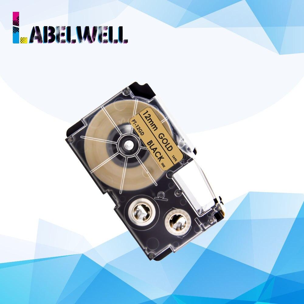 Labelwell Compatible para Casio XR-12GD XR 12GD XR12GD cinta de etiquetas compatible para Casio KL-60 KL-120 Etiqueta de 12mm Cinta de Oro