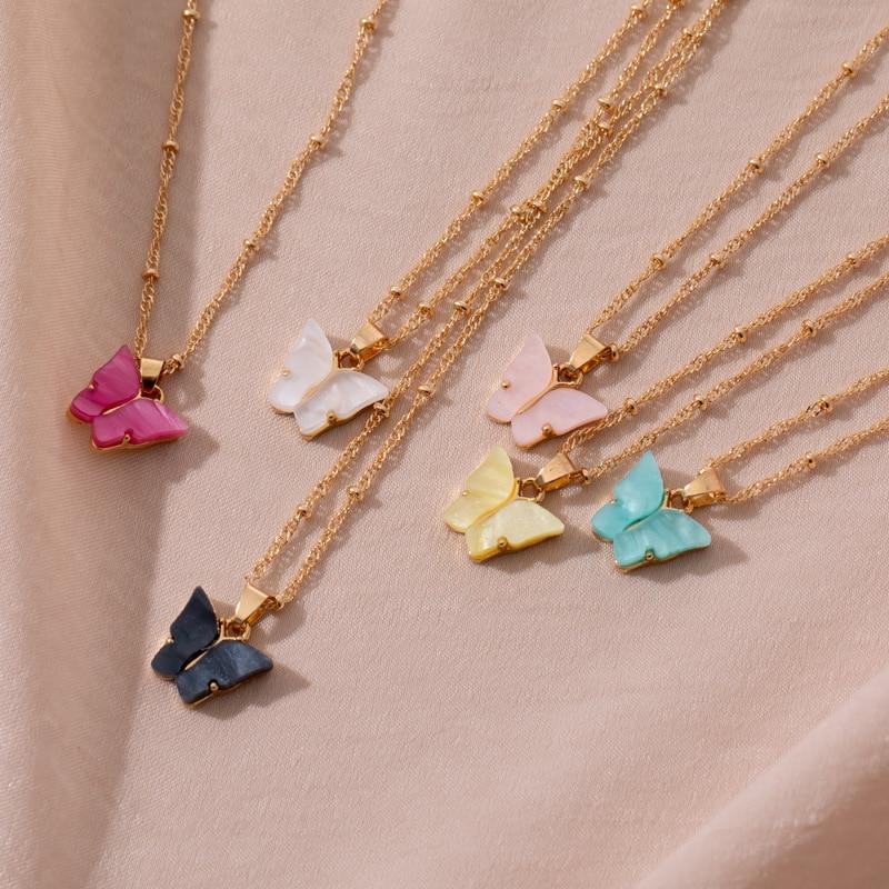 Blijery bonito borboleta pingente colar para mulheres menina cocktail festa colar de instrução simples coreano moda colar de jóias