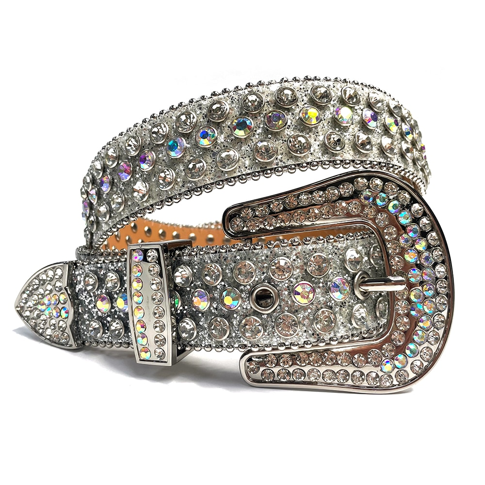 Fashion Luxury Strap Diamond Belt Western Crystal Studded Belt Cowgirl Cowboy Rhinestones Belt For Women Men Cinto De Strass