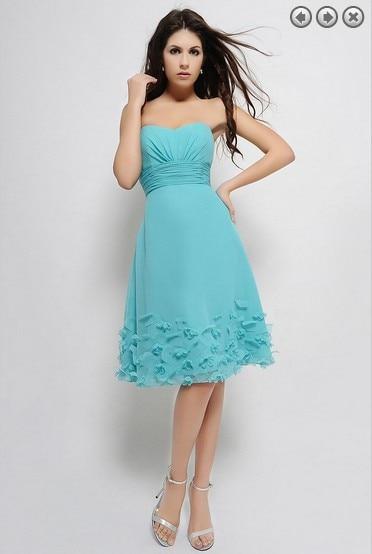 free shipping new flowers sweetheart 2015 plus size bridesmaid dresses vestido de festa formal knee-length chiffon party dress