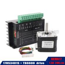 Livraison gratuite 17HS3401-S Nema 17 moteur pas à pas 42 moteur 1.3A avec pilote de moteur pas à pas TB6600 NEMA17 23 CNC Laser et imprimante 3D