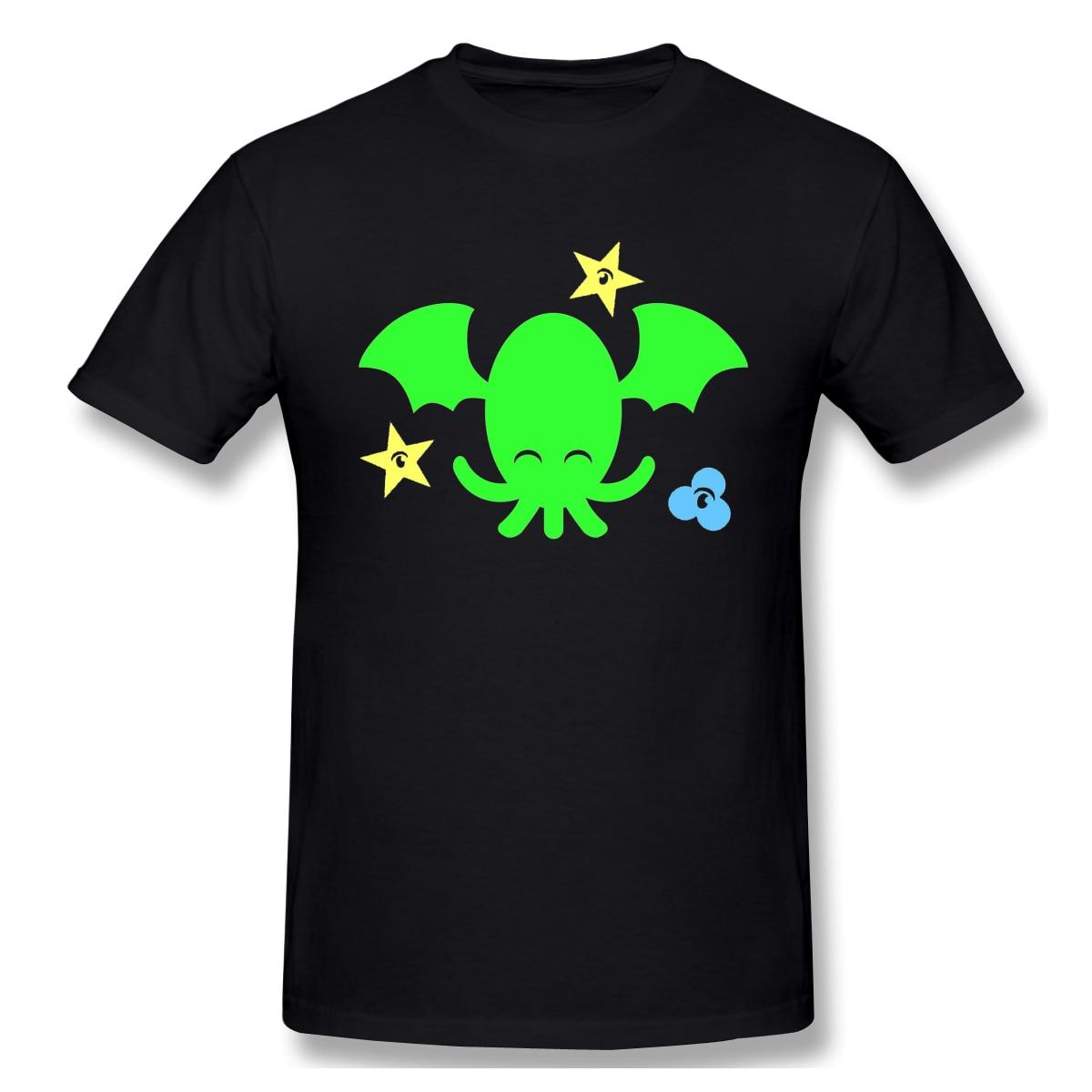 Alta qualidade o pescoço 100 algodão topos & t banda bonito uluhu sonhos camiseta verão/outono chamada de cthulhu manga curta