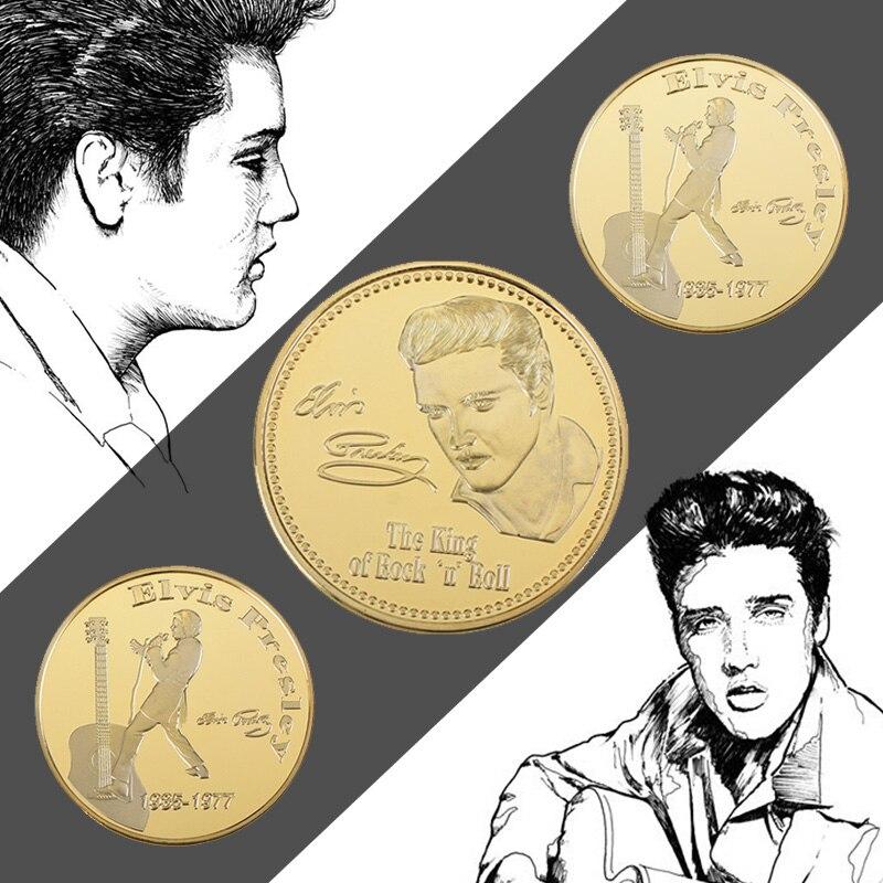 Золотая памятная монета в держателе для монет Король рок Элвис Пресли 1935-1977 сборная музыкальная монета подарок для фанатов