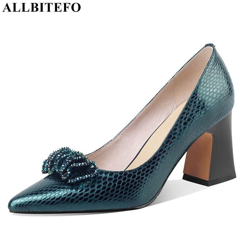 ALLBITEFO حجم 34-42 كعب سميك جلد طبيعي ماركة كعوب عالية على الموضة حفلة النساء كعوب أحذية مكتب كعب عالٍ للسيدات أحذية