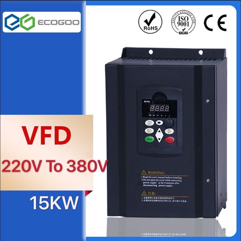 15KW 220V AC convertidor de frecuencia Variable VFD inversor para 3 Fase 380V 11KW husillo 11000W vfd para cnc conductor