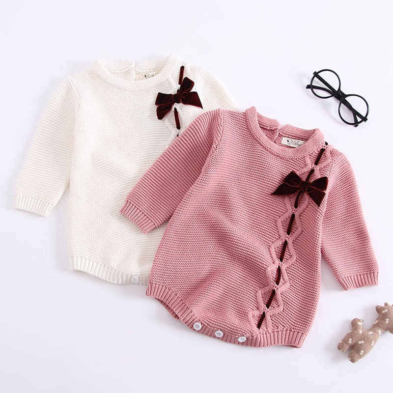 Novo 2020 outono inverno bebê menina bowknot macacão bebê menina mangas compridas macacão bebê recém-nascido