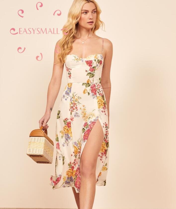 EASYSMALL reformación mujeres vestido blanco verano flor playa Sexy espalda descubierta estilo francés alta cintura sin mangas vestidos