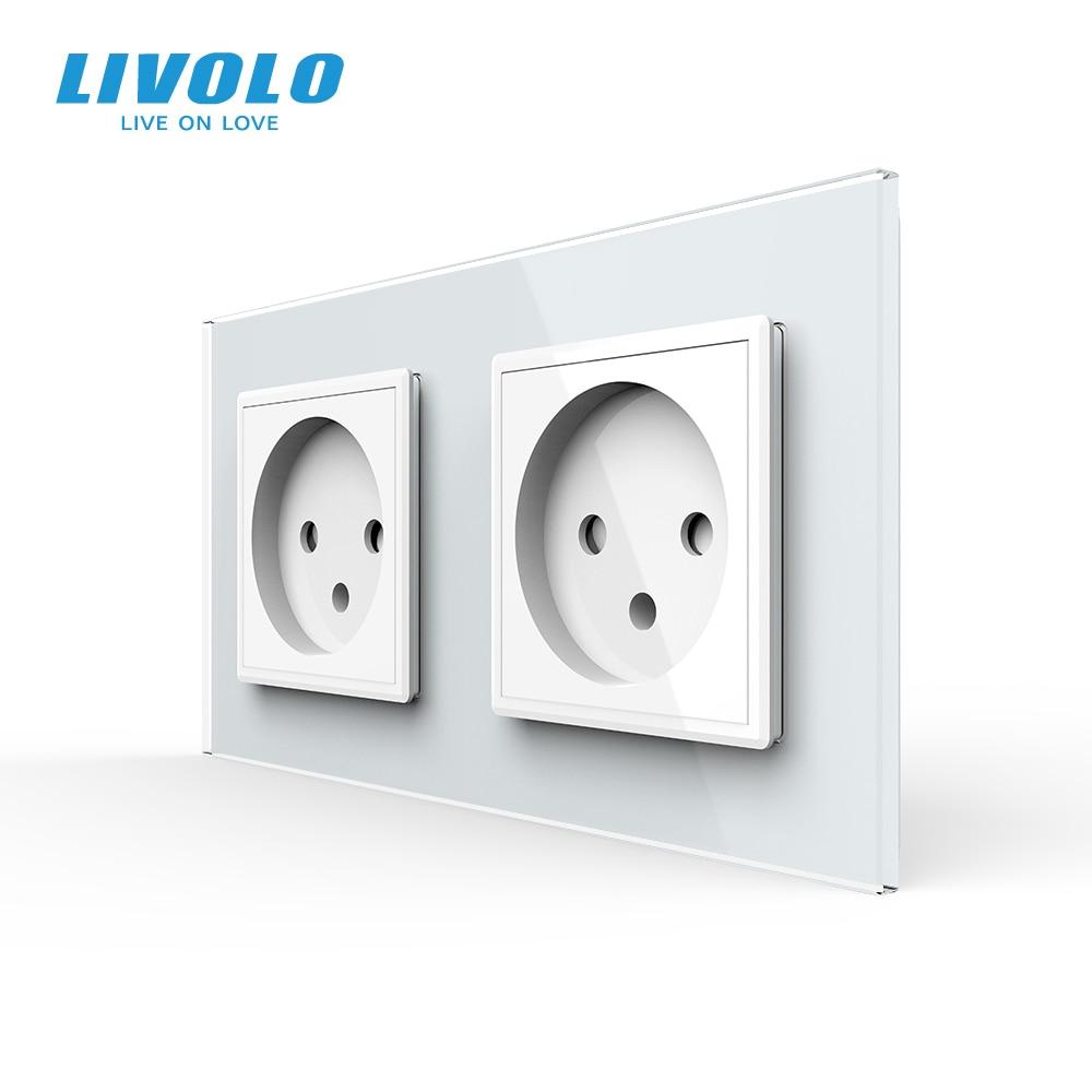 Livolo EU Standard double Israel Power Socket, Glass Panel,AC 100~250V 16A Wall Power Socket,C7C2IL-11/12/13/15(4colors),no logo