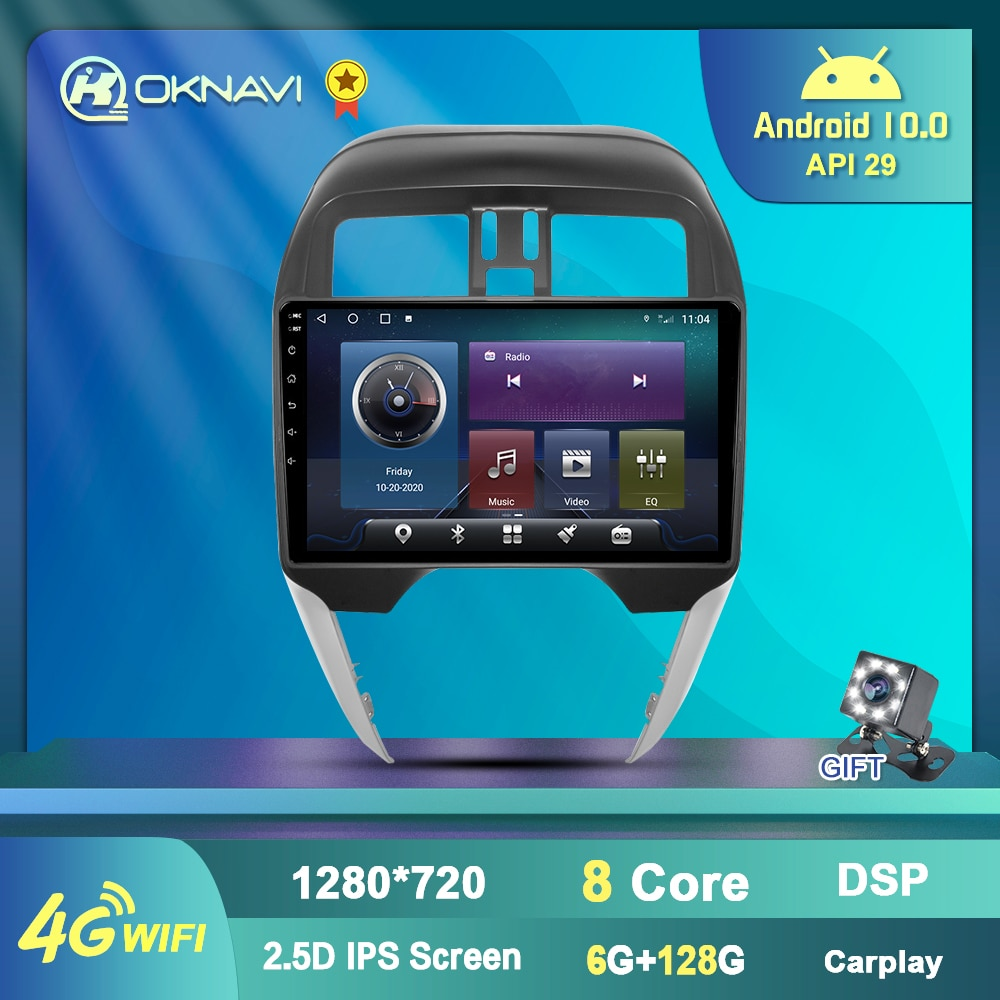 "Autoradio 9 "", Android 10, Navigation GPS, WIFI, DSP, 2 Din, lecteur sans DVD, multimédia, LHD, Carplay, pour voiture Nissan Sunny/Almera (2014-2018)"