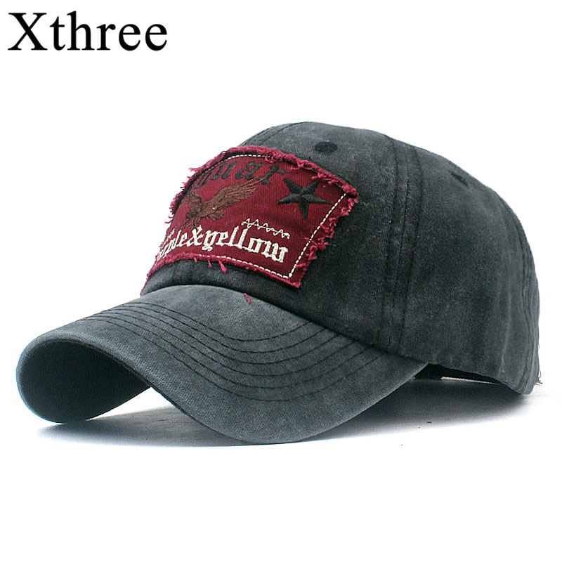 Xthree gorras de béisbol de algodón para hombres para mujeres sombrero snapback bordado casual casquette papá sombrero hip hop cap