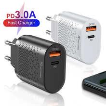 EU/US/UK настенных розеток PD USB для быстрой зарядки 20 Вт смарт-телефон 3A быстрое зарядное устройство для iPhone 12 Pro Max Xiaomi 11 10 Huawei P40 P30 Samsung