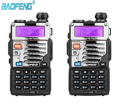 Двухдиапазонный радиоприемник Baofeng, 2 шт., приемопередатчик UHF 400-520 МГц, UV-5RE, 5 Вт, 128 каналов, ЖК-дисплей, VHF136-174MHz