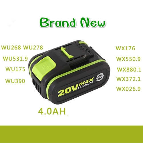 LED 20V batería 4000mah Li-Ion batería para herramienta eléctrica Worx WU268 WU278 WU531.9 WU175 WU390 WX176 WX550.9 WX880.1 WX372.1 WX026.9