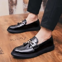 gentleman mens casual leather shoes party formal fashion slippers office business designer non slip brand personality trend