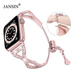 Strap For Apple Watch Series 6 SE 5 4 40mmm 44mm Women Diamond Jewelry Wristband Strap For Apple Watch 3 Band 42mm 38mm Bracelet